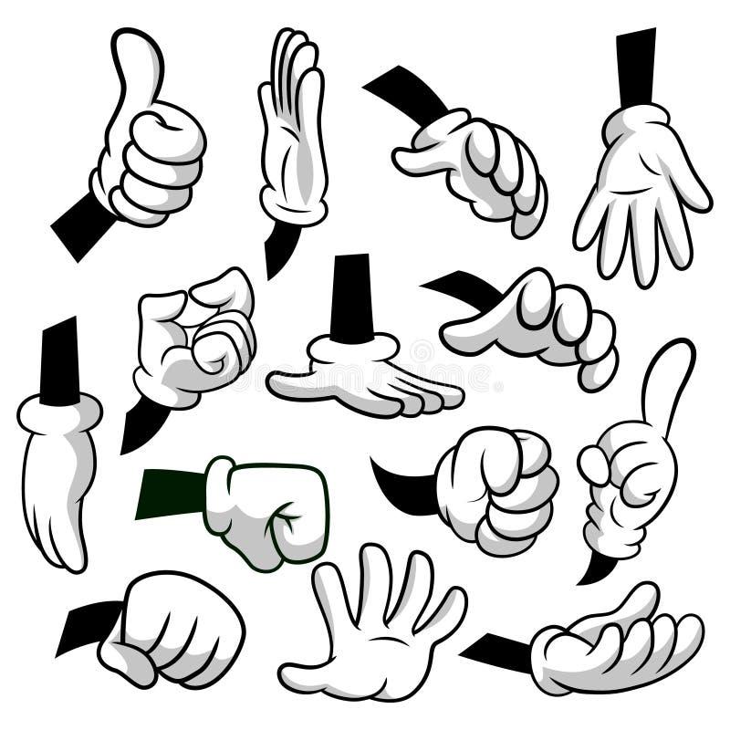 Tecknad filmhänder med handskesymbolsuppsättningen som isoleras på vit bakgrund Vektorclipart - delar av kroppen, armar i vita ha royaltyfri illustrationer