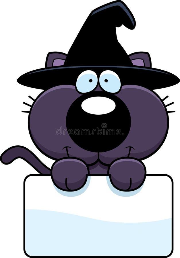 Tecknad filmhäxa Cat Sign royaltyfri illustrationer