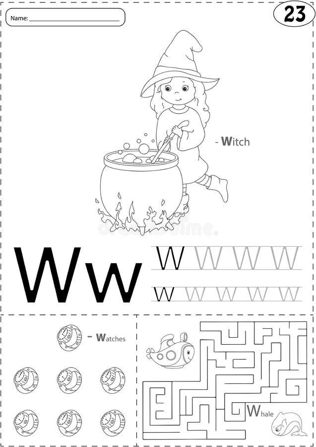 Tecknad filmhäxa, klockor och val Spårande arbetssedel för alfabet: wr royaltyfri illustrationer