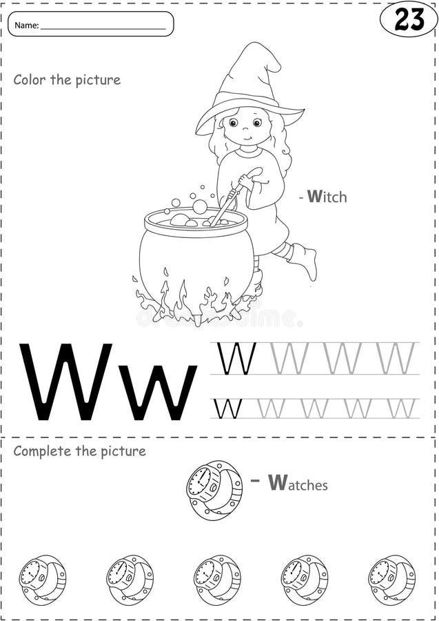 Tecknad filmhäxa och klockor Spårande arbetssedel för alfabet: skriva vektor illustrationer