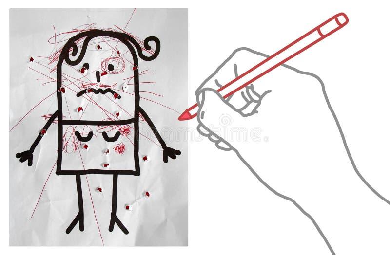 Tecknad filmhanddanande klottrar på en kvinnastående vektor illustrationer