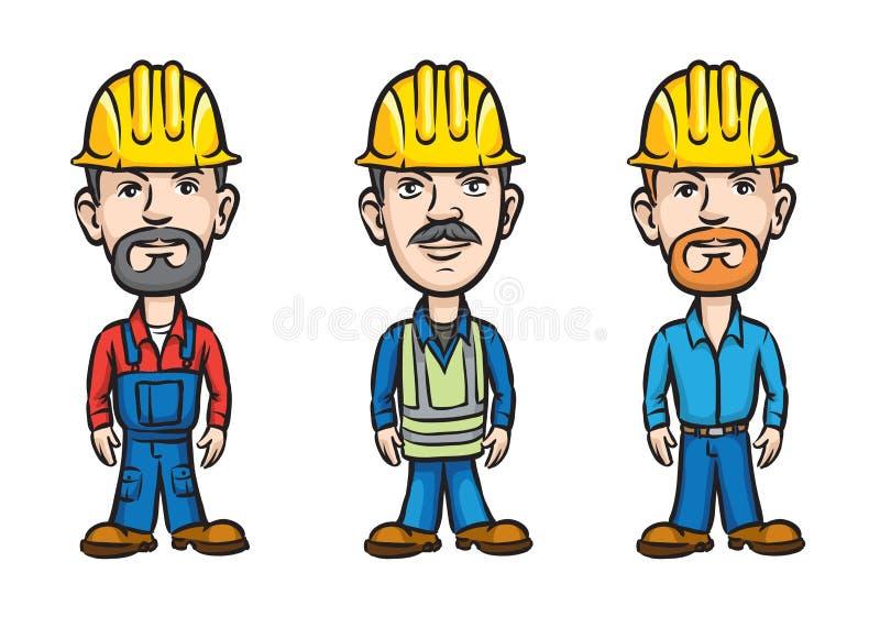 tecknad filmhardhats tre arbetare vektor illustrationer