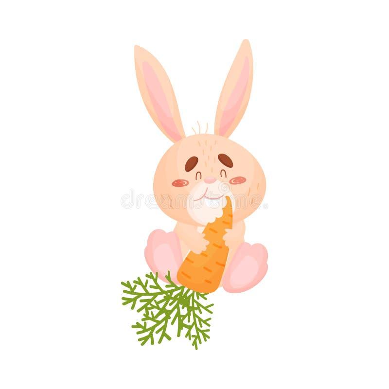 Tecknad filmharen äter morötter white f?r vektor f?r bakgrundsillustrationhaj royaltyfri illustrationer
