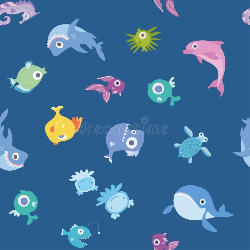 Tecknad filmhavsdjur, sömlös modell Val, haj, delfin och andra fisk och djur bakgrundsgalleriillustrationen mer mitt ser vektorn royaltyfri illustrationer