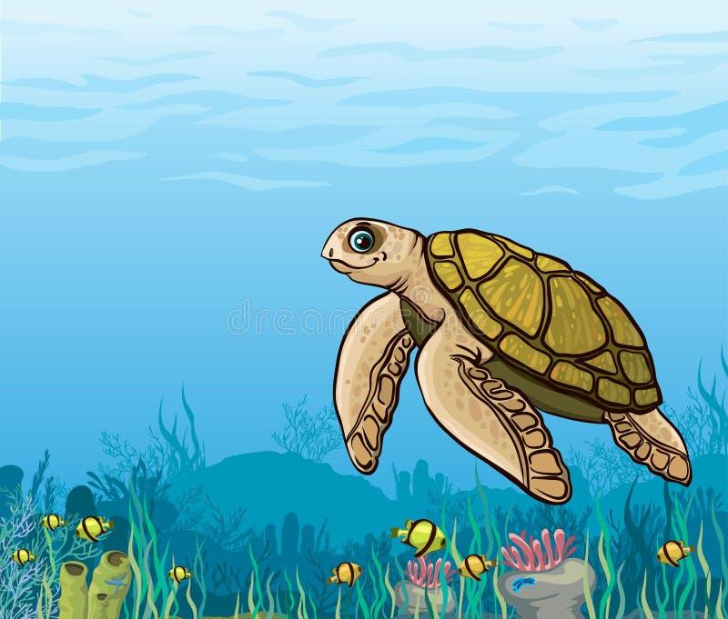 Tecknad filmhavssköldpadda och korallrev. stock illustrationer