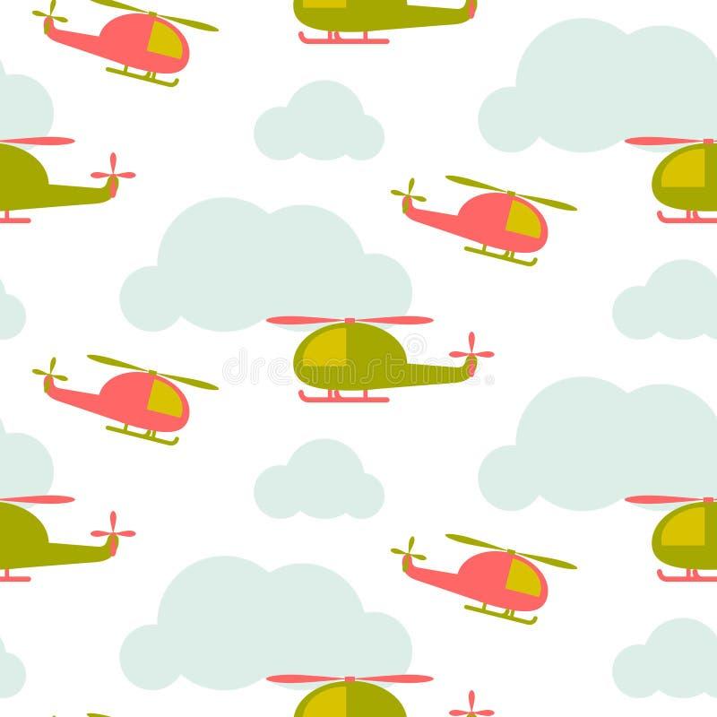 Tecknad filmhelikopter i sömlös vektormodell för himmel stock illustrationer