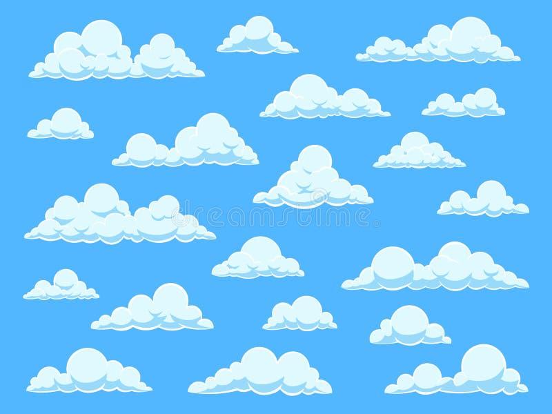 Tecknad filmhimmelmoln Cloudscape i panorama för blå himmel, olika former av vita moln, den isolerade vektoruppsättningen för gul royaltyfri illustrationer