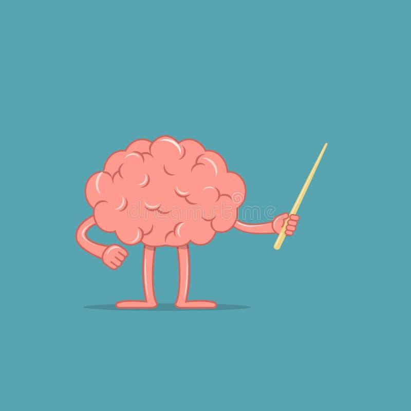 Tecknad filmhjärnan rymmer en pekare Det isolerade teckenet av hjärnan visar något Begrepp av utbildning royaltyfri illustrationer