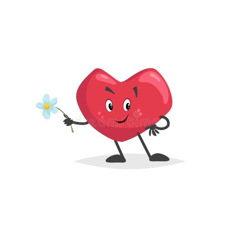 Tecknad filmhjärtatecken Fallande förälskad maskot med blomman abstrakt vektor för valentin för symbol för daghjärtaillustration  stock illustrationer