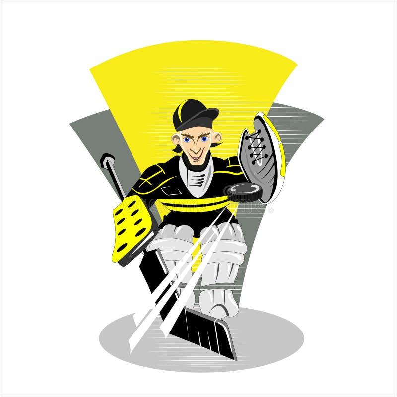 Tecknad filmhockeyspelare som åker skridskor vektorn royaltyfri bild