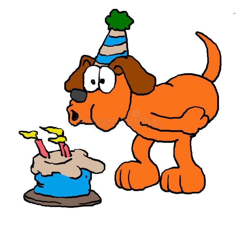 Tecknad filmhund som blåser stearinljuset vektor illustrationer