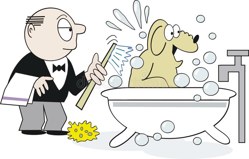 tecknad filmhundshampoo stock illustrationer
