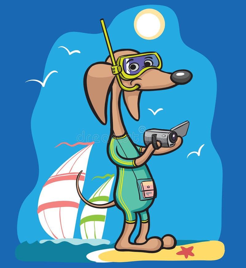 Tecknad filmhundtecken i baddräkt med kameran royaltyfri illustrationer