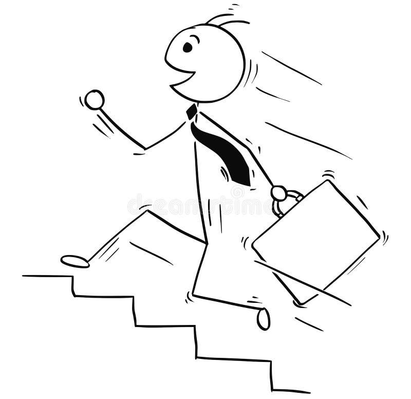 Tecknad filmillustration av att le affärsmannen som uppför trappan kör royaltyfri illustrationer