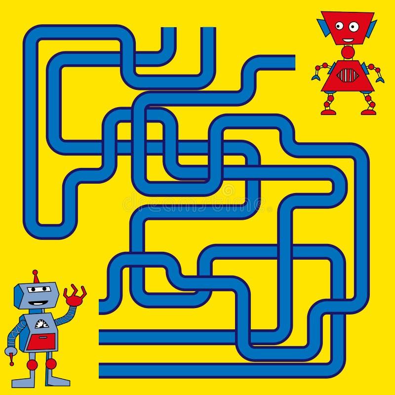 Tecknad filmillustration av banor eller Maze Puzzle Activity Game Ungar som lär leksamlingen royaltyfri illustrationer
