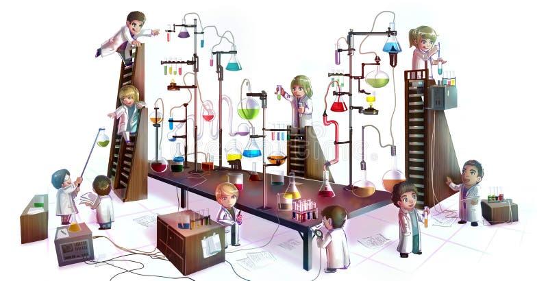 Tecknad filmillustration av barnforskare som studerar kemi, stock illustrationer