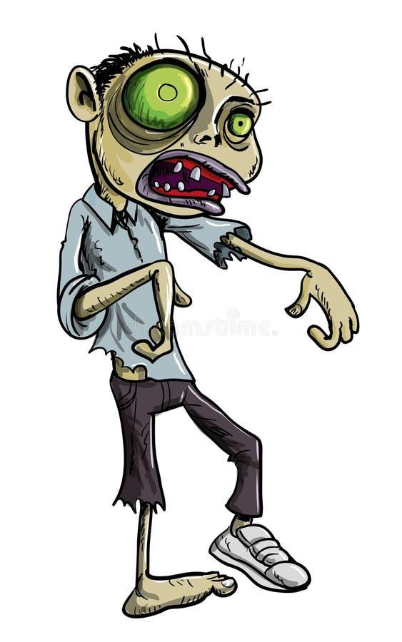 Tecknad Filmillustration Av Den Gröna Zombien Royaltyfria Bilder