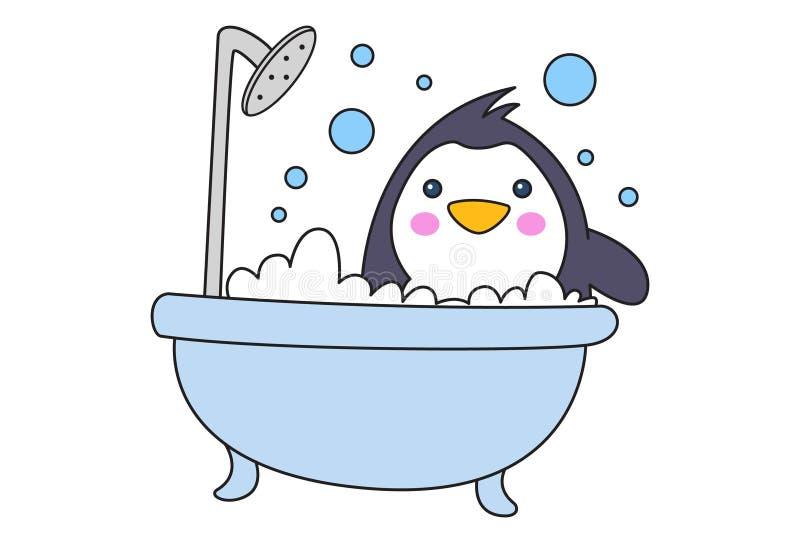 Tecknad filmillustration av den gulliga pingvinet stock illustrationer