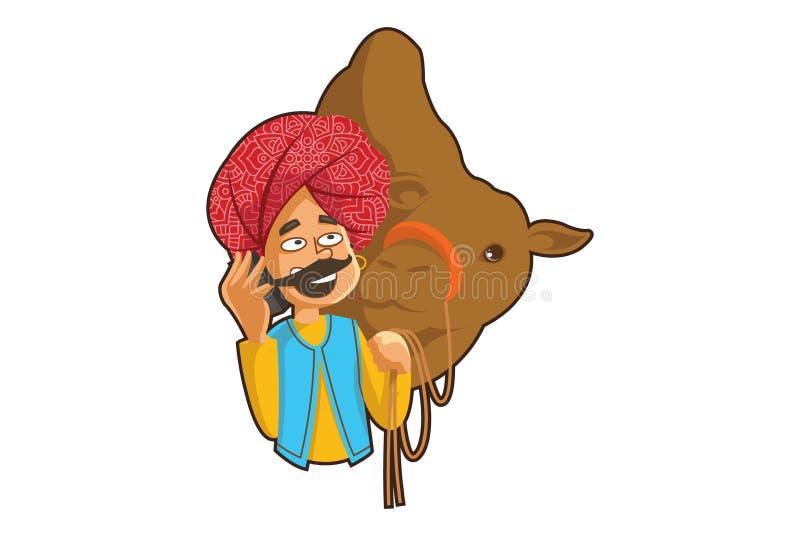 Tecknad filmillustration av den Rajasthani mannen vektor illustrationer