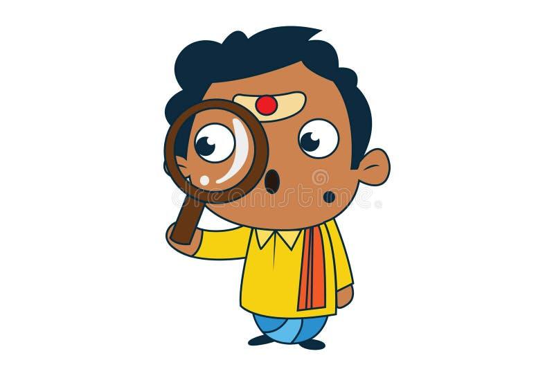 Tecknad filmillustration av den södra indiska mannen royaltyfri illustrationer