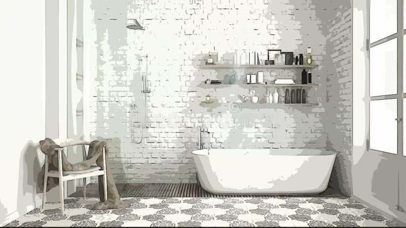 Tecknad filmillustration av det hemtrevliga moderna badrummet, inredesign Färgrik bakgrund, lägenhetbegrepp med möblemang som är  stock illustrationer