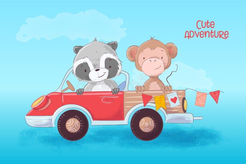 Tecknad filmillustration av en gullig tvättbjörn och apa på en lastbil ocks? vektor f?r coreldrawillustration stock illustrationer