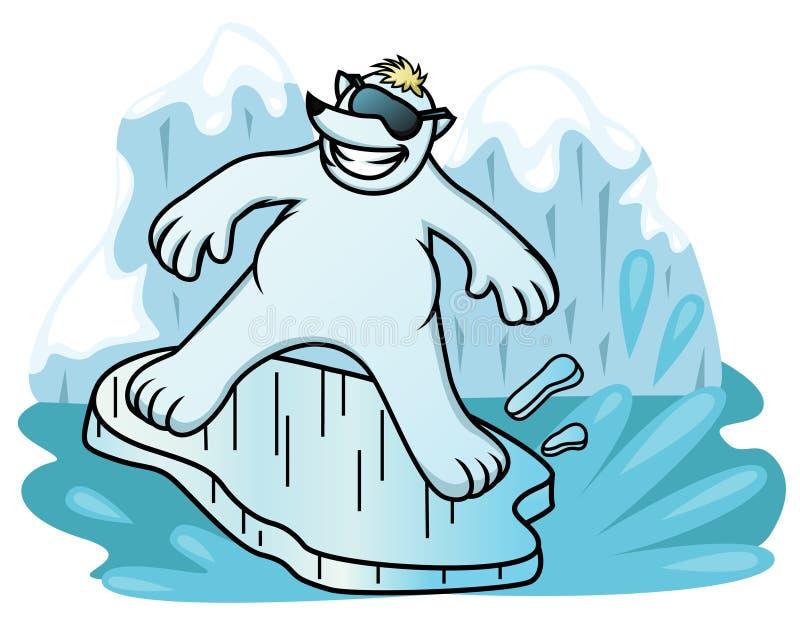 Tecknad filmillustration av en isbjörn som surfar med ishyllan royaltyfri illustrationer