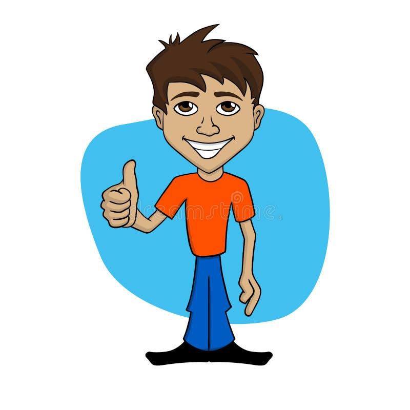 Tecknad filmillustration av en lycklig man som ger upp tummen vektor illustrationer