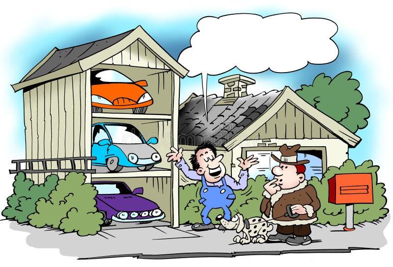 Tecknad filmillustration av en man som har byggt garaget specifikt för alla hans bilar royaltyfri illustrationer