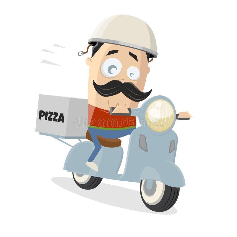 Tecknad filmillustration av en pizzaleveransgrabb med en sparkcykel vektor illustrationer