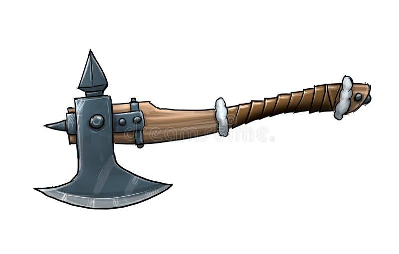 Tecknad filmillustration av fantasin eller den medeltida stridyxan royaltyfri illustrationer