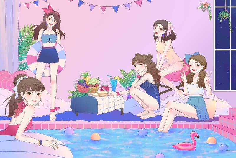 Tecknad filmillustration av 5 gulliga asiatiska tonåriga flickor som har gyckel, och pölpartiet i det stora badrummet med baddräk royaltyfri illustrationer