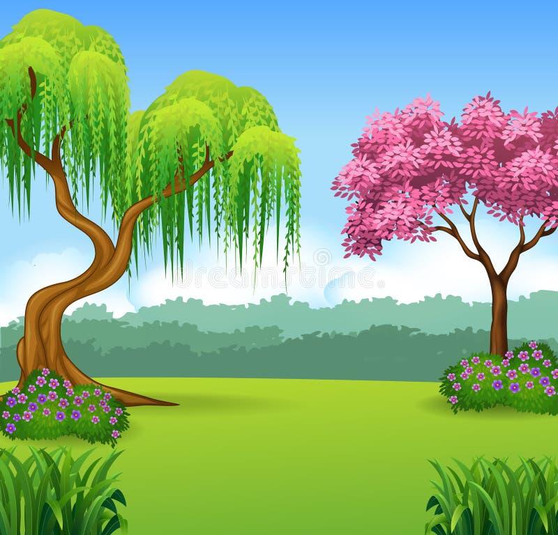 Tecknad filmillustration av härlig skogbakgrund stock illustrationer