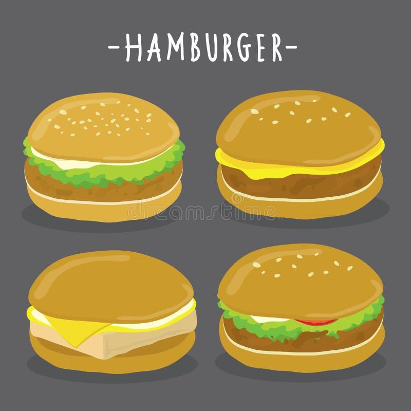 Tecknad filmillustration av hamburgaretecken Vektorsamlingsuppsättning stock illustrationer