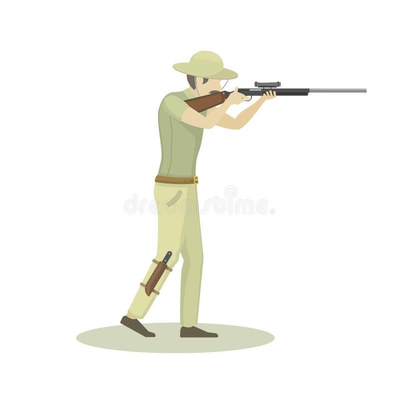 Tecknad filmillustration av jägaren som siktar gevärvektorteckenet royaltyfri illustrationer
