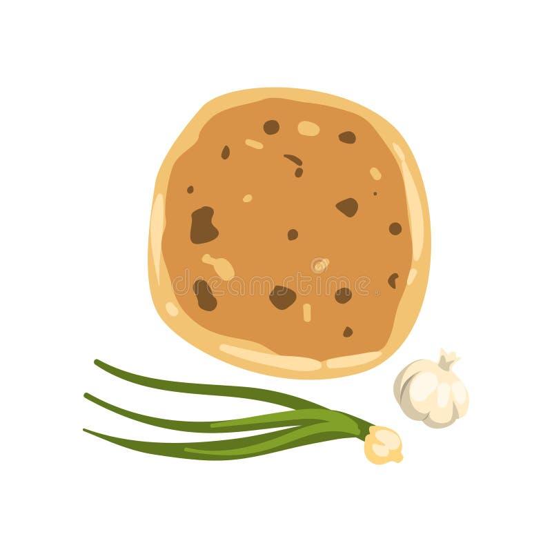 Tecknad filmillustration av khachapurien, salladslöken och vitlök Traditionell georgisk maträtt av ost-fyllt bröd nationellt stock illustrationer