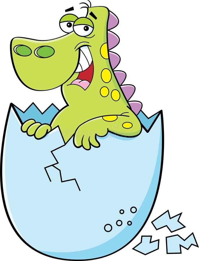 Tecknad film behandla som ett barn att kläcka för dinosaur stock illustrationer