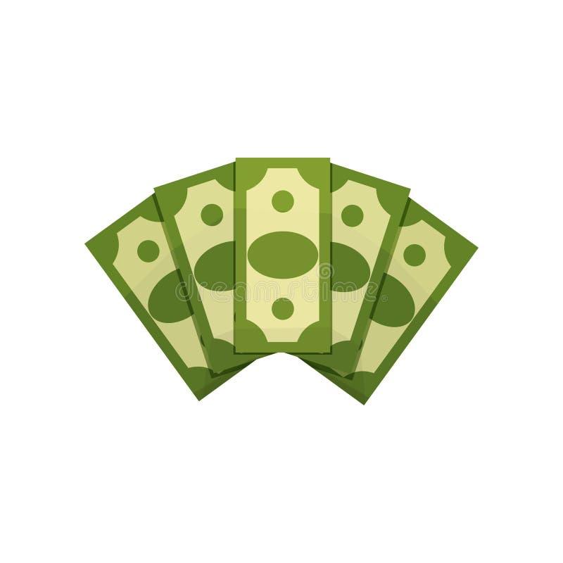 Tecknad filmillustration av pengarfanen Fem dollarräkningar Gröna sedlar amerikansk valuta isolerad fjärdedelwhite Begrepp av rik vektor illustrationer