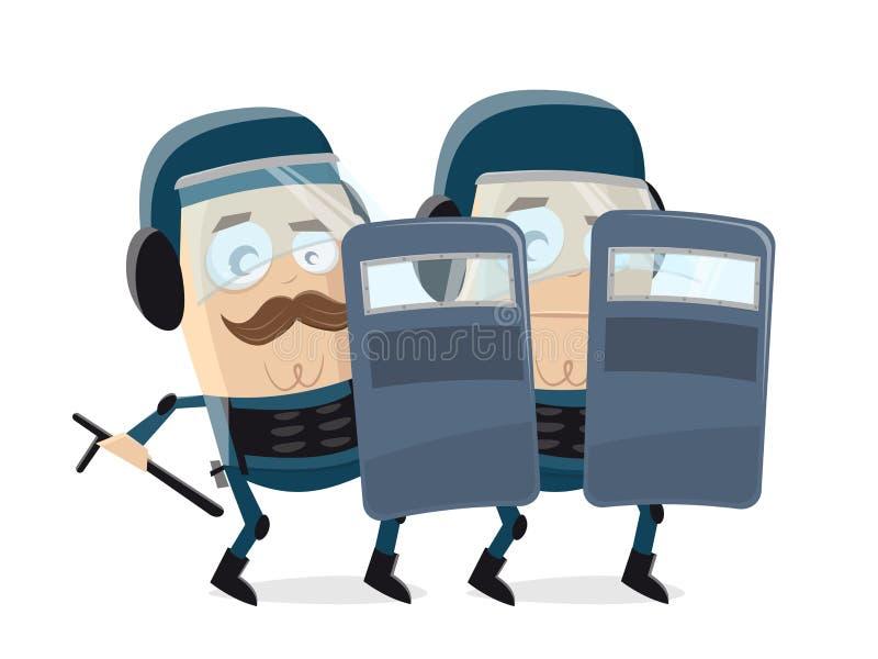Tecknad filmillustration av poliser i skyddskläder royaltyfri illustrationer