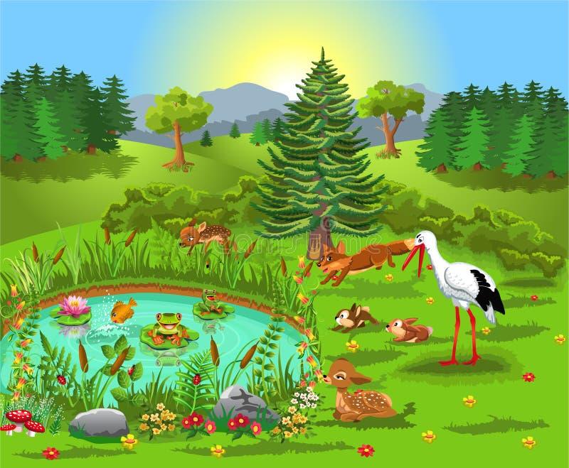 Tecknad filmillustration av vilda djur som bor i skogen och kommer till dammet royaltyfri illustrationer