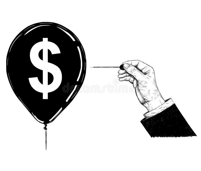 Tecknad filmillustration eller teckning av handen med visaren eller den Pin Popping Dollar Currency Symbol ballongen vektor illustrationer