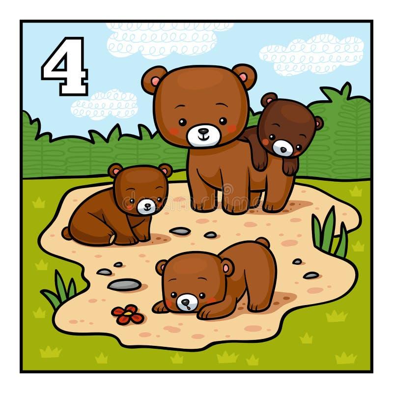 Tecknad filmillustration för barn Fyra björnar vektor illustrationer