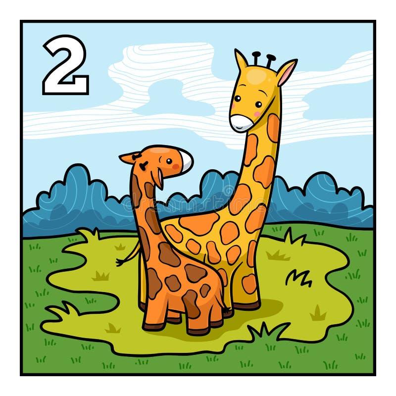 Tecknad filmillustration för barn giraff två stock illustrationer