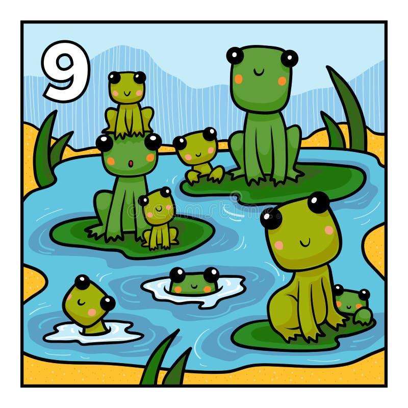 Tecknad filmillustration för barn Nio grodor vektor illustrationer