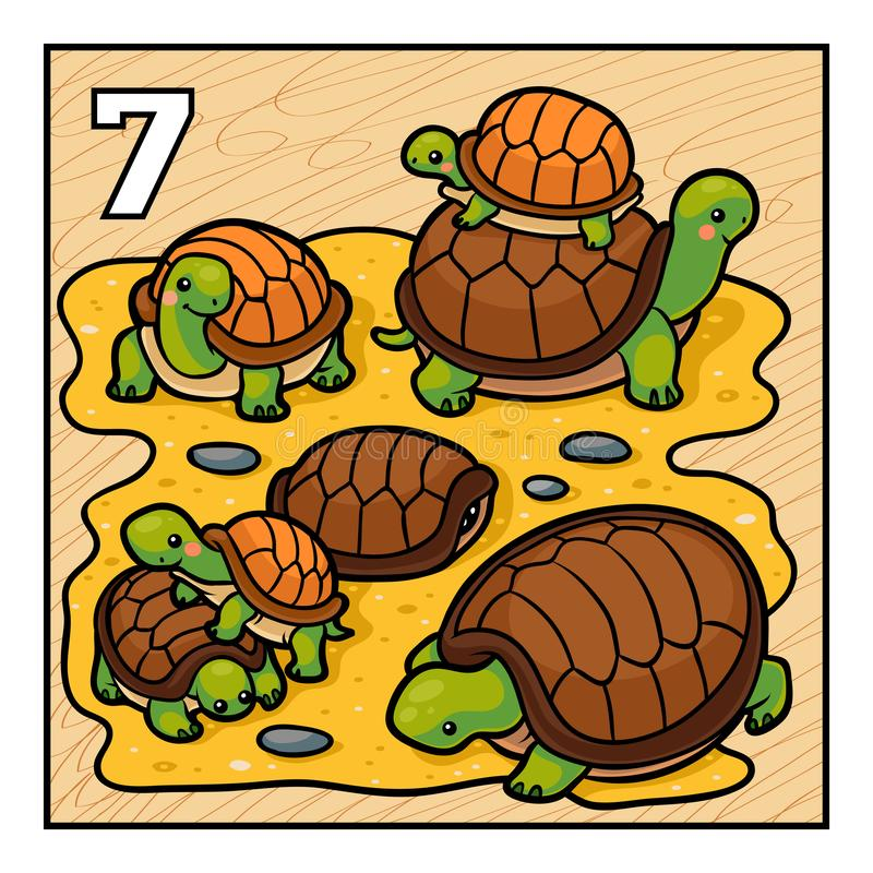 Tecknad filmillustration för barn Sju sköldpaddor stock illustrationer