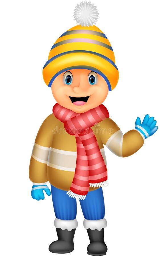 Tecknad filmillustrationen av en pojke i vinter beklär att vinka vektor illustrationer