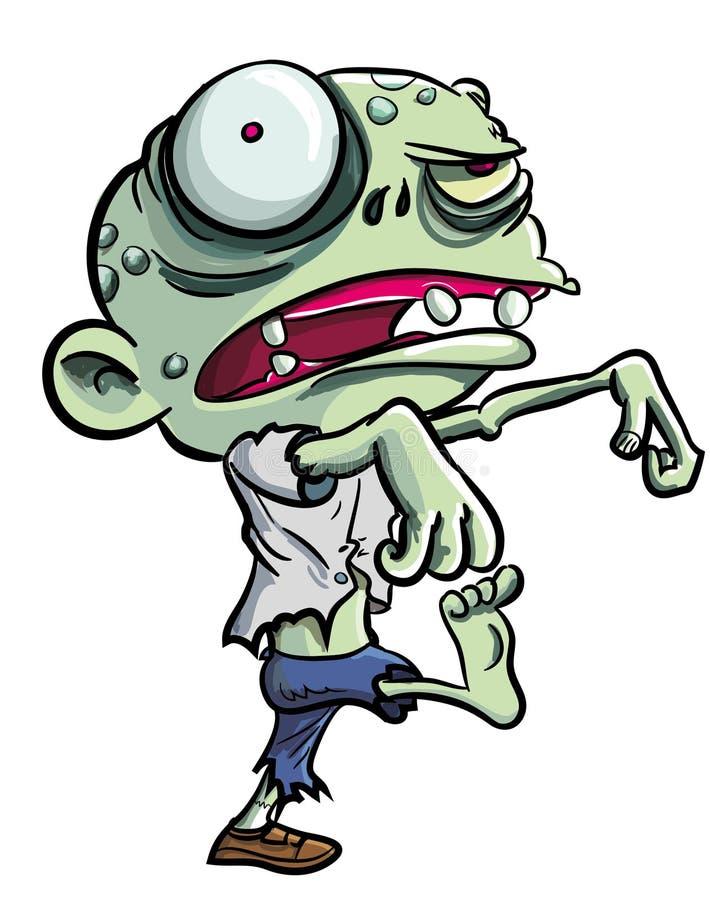 Tecknad filmillustration av den gulliga gröna zombien royaltyfri illustrationer
