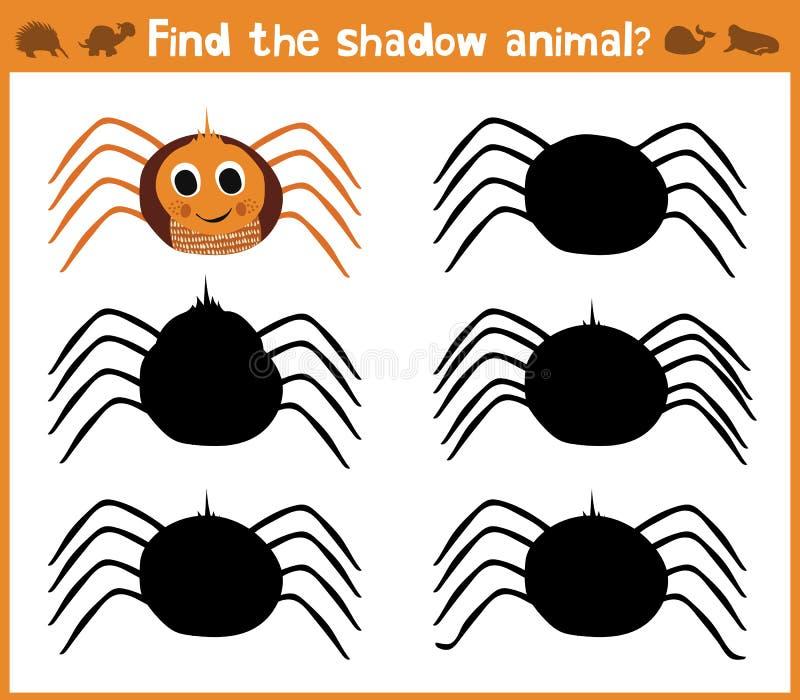 Tecknad filmillustrationen av utbildning ska finna den lämpliga spindeln för skuggakonturdjuret Matcha leken för barn av pres stock illustrationer