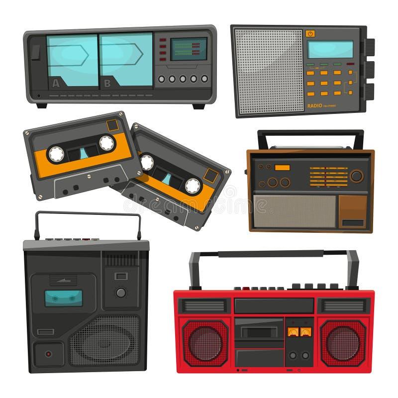 Tecknad filmillustrationer av gamla musikkassettregistreringsapparater, spelare och radior vektor illustrationer