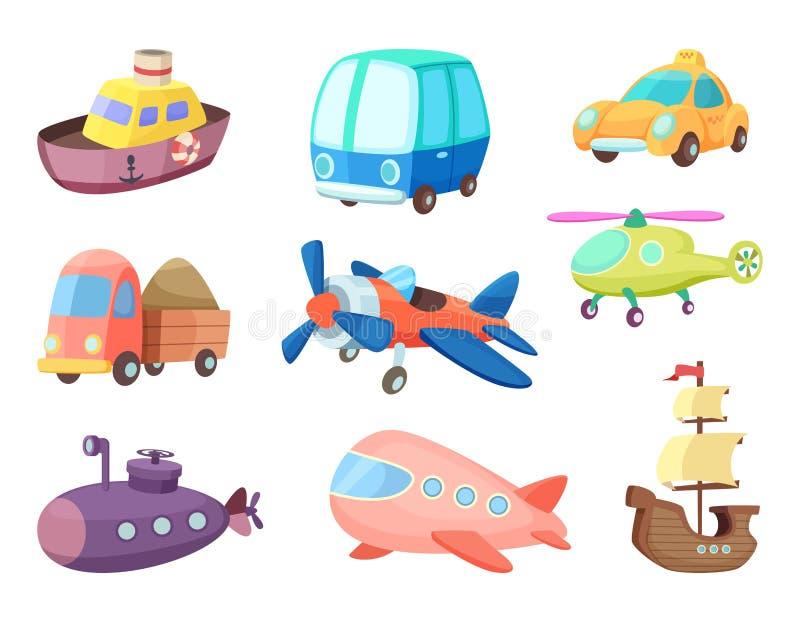 Tecknad filmillustrationer av olikt trans. Flygplan, skepp, bilar och andra Vektorbilder av leksaker för ungar royaltyfri illustrationer